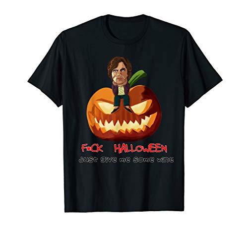 Halloween Funny Dwarf Wine Game Gift Idea Throne Pumpkin T-Shirt