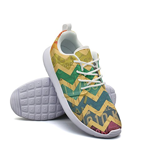 kdteq Womens Colorful Lines Colorful Camping Climbing Casual Running Shoes (Apple Smocked)