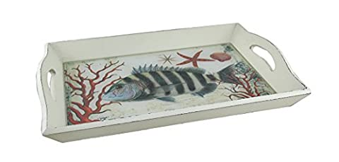 Wood & Glass Decorative Trays D12858 White Wood And Glass Sea Life Decorative Serving Tray 15.5 X 2.25 X 9.5 Inches White