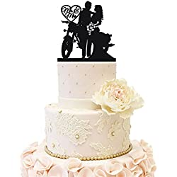 Uniquemystyle Motorcycle Funny Wedding Cake Topper Mr Mrs Bride Groom Motorbike (Black)