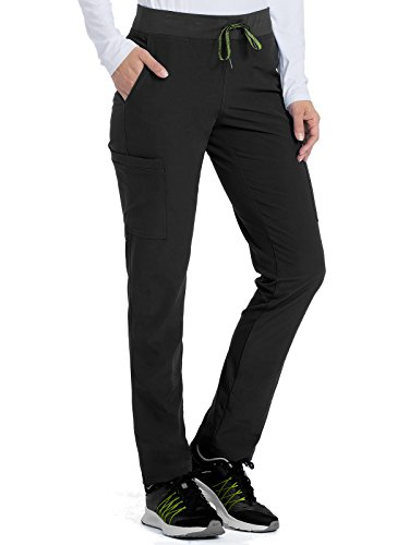 Med Couture Women's 'Air Collection' Oxygen Yoga Cargo Scrub Pant, Black/Apple, Small Petite ()