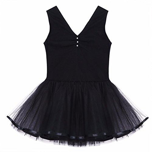 FEESHOW Girls Tank Leotard Ballet Dance Dress with Tutu Skirt Costumes black 10-12