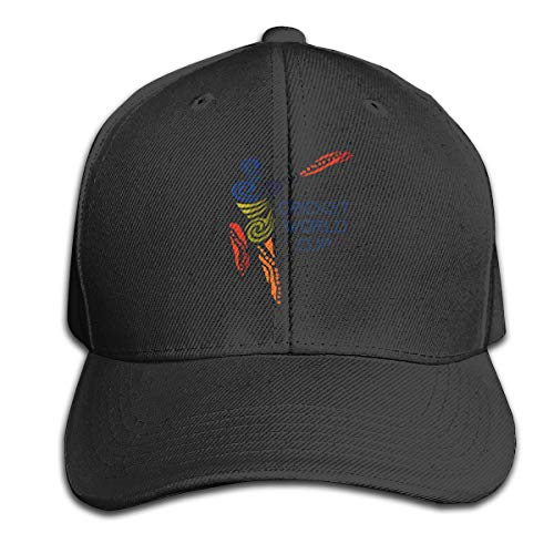 - Cricket World Cup Pure Color Peaked Cap Adjustable Trucker Cap Fits Men Women Black