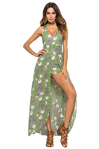Damen Sommer Lässig Rückenfrei Split Kleid Drucken Ärmellos Strand Maxikleid Style 7