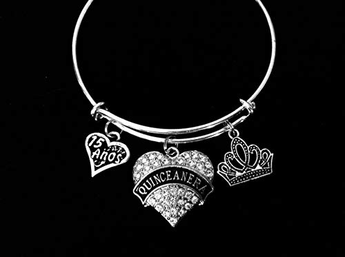Quinceañera Jewelry 15 Anos 15th Birthday Adjustable Silver Bracelet Expandable Charm Bangle Tiera Crown Crystal Heart One Size Fits All Custom Options Available ()