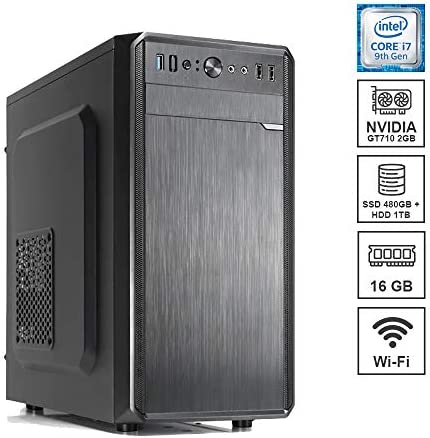 DILC Business 7 Pc Desktop Intel i7-9700F 3.00 ghz Ram 16 gb Ssd 480 gb + Hard Disk 1 tb GT 710 2gb WiFi Masterizzatore Alimentatore 450W 80+ Licenza Windows 10 PRO