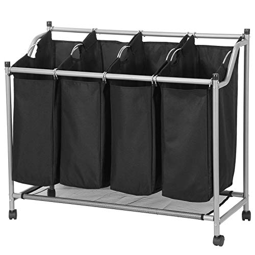 SHAREWIN 4 Bag Laundry Sorter Cart, Laundry Hamper Sorter with Heavy Duty Rolling Wheels for Clothes Storage,Black