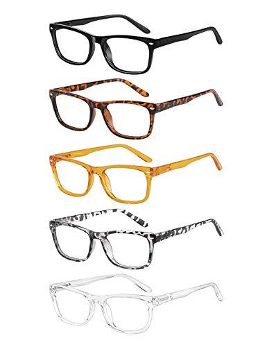CCVOO 5 Pack Reading Glasses Blue Light Blocking, Anti Glare/UV Ray/Eyestrain Fashion Lightweight Eyeglasses For Women…