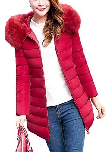 Faux Red Parka TTYLLMAO Warm Down Long Hooded Puffer Coat Winter Down Fur Women's Jacket wgqgRX