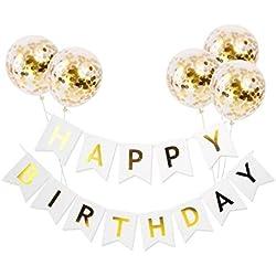 Queen Bee - Decoraciones Fiesta De Cumpleaños - Decoracion Globos De Cumpleaños Y Letrero Feliz Cumpleaños - ( Happy Birthday) Festejo para Fiesta