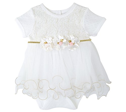 T.F. Taffy Taffy Baby Girl Newborn Gold Glitter Floral Short Sleeve Unique Tutu Bodysuit 3-6M