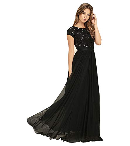 Royal Export Women's Pleated Maxi Dress (Black_Large)