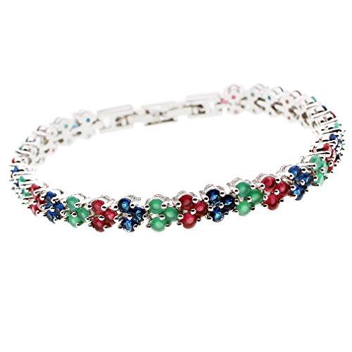 HERMOSA Fashion Jewelry Tennis Bracelet Ruby Emerald Sapphire Peridot White Topaz Plated Silver Bracelets 7 inch - Sapphire Bracelet Ruby Emerald