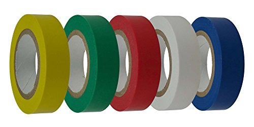Cambridge Electrical Tape 1/2 Inch By 20 Feet Per Roll, 5 Rolls, Yellow, Green, Blue, White, Red, Professional Grade