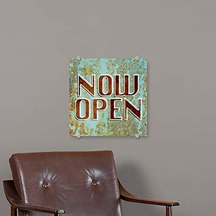 Now Open CGSignLab Ghost Aged Blue Premium Acrylic Sign 16x16 5-Pack