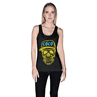 Creo Yellow Blue Coco Skull Tank Top For Women - S, Black