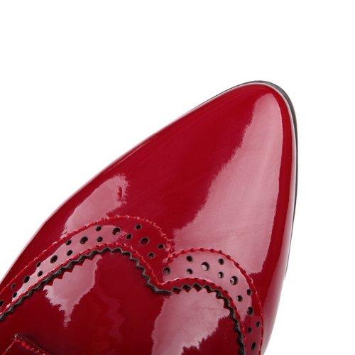 Balamasa Womens Lace Up Lage Hakken Stevige Pumps Schoenen Rood