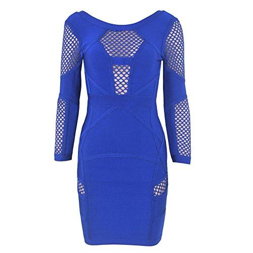 HLBandage Women Long Sleeve Hollow Out Lattice Rayon Bandage Dress Azul