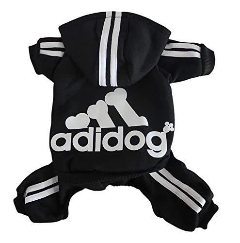 - Scheppend Adidog Pet Clothes for Dog Cat Puppy Hoodies Coat Winter Sweatshirt Warm Sweater Dog Outfits, Black XX-Large