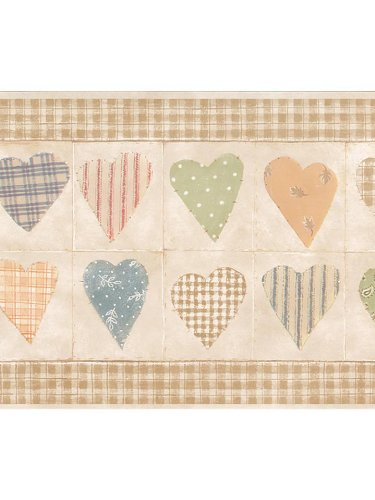 Country Hearts Checks Plaid Wallpaper Border - Tan (Tan Plaid Wallpaper)