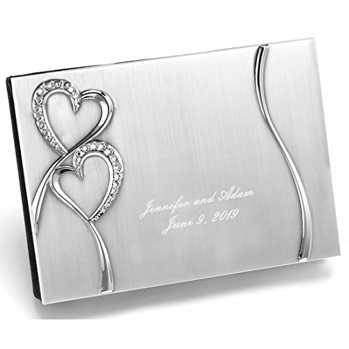 Guest Engraved Book (All Things Weddings Personalized Engraved Silver Plated Petite Guest Book, Sparkling Love)