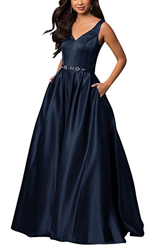 - yinyyinhs Women's V Neck Prom Dresses A Line Long Beaded Evening Formal Gowns with Pockets Size 12 Navy Blue