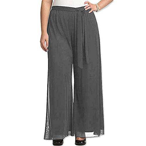 Red Dot Boutique 8006 - Plus Size Elastic Waistband Wide Legged Palazzo Pants (Size 1X - 4X) (2X, Gray)