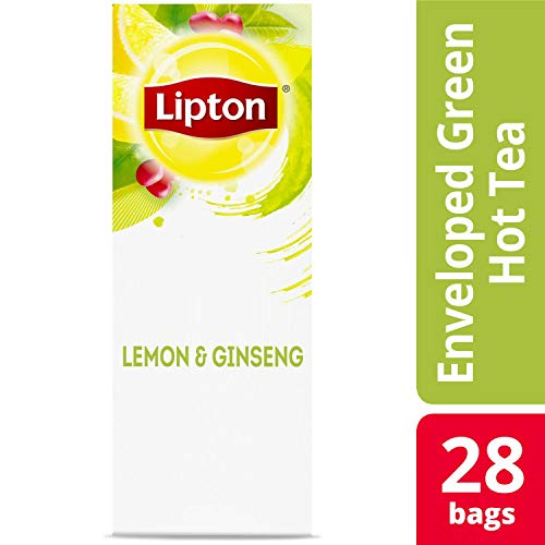 Lipton Green with Lemon and Ginseng Enveloped Hot Tea Bags Made with Tea Leaves Sourced from Rainforest Alliance Certified Farms, 28 count, Pack of 6