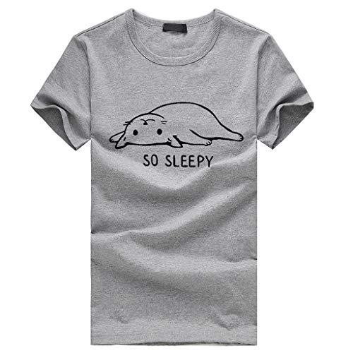 (Sunhusing Men's Cute Kitten Cat Print Short-Sleeve T-Shirt Casual Spring Summer O-Neck Joker Tops)
