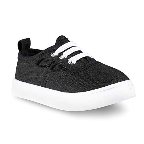 Sugar & Spice Fashion Canvas Sneakers, Girls Boys Youth Toddlers Kids, Lace up Black Canvas Kids Shoes