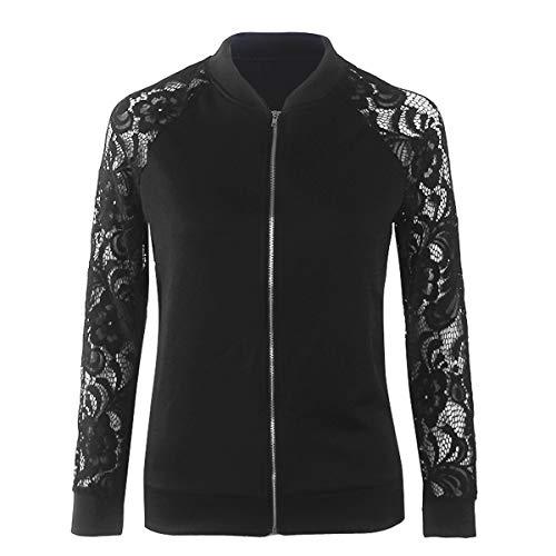Tops Cime Nero Moda Elegante Cappotti E Donna Outerwear Primavera Pizzo Con Giacca Autunno Giacche Jacket Cucitura Coat Casual Zip 4qv1xTRw