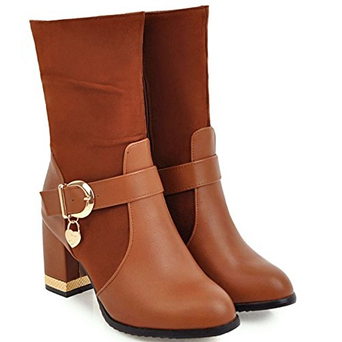 Boots Fur Women TAOFFEN Heels Mid Warm 1278 Calf Comfortable with Faux Brown Winter aHwB0wxvq