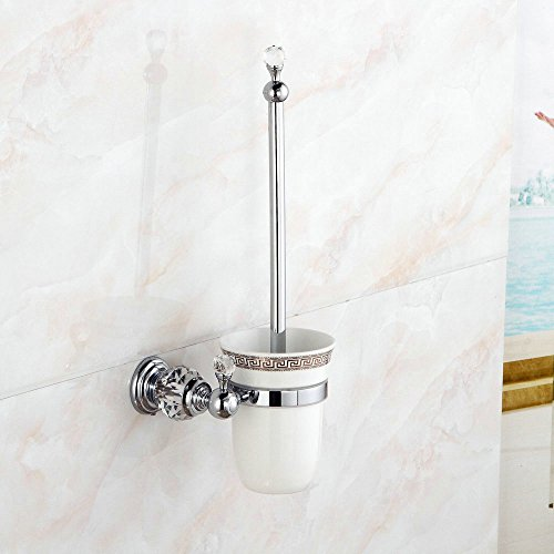 Beelee BA5204C Crystal-Series Toilet Brush with Holder Wall Mount, Chrome Finish, Solid Brass & Crystal, Toilet Brush Bowl Holder for Bathroom (Solid Brass Toilet Brush)