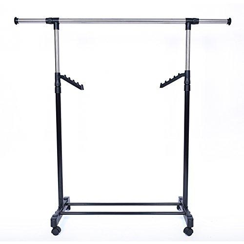 JS HOME Garment Rack Adjustable Rolling Clothes Rack Sigle Rod