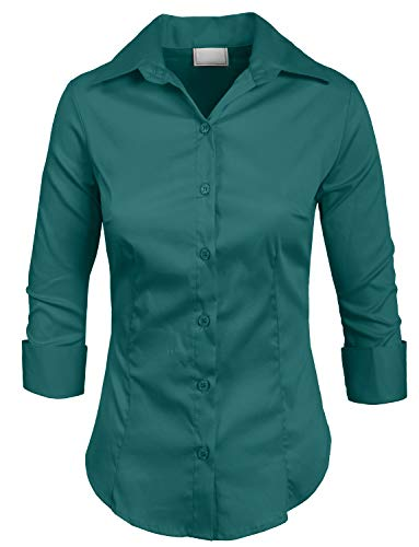 5b23916f NE PEOPLE Roll Up 3/4 Sleeve Button Down Shirt with Stretch ...