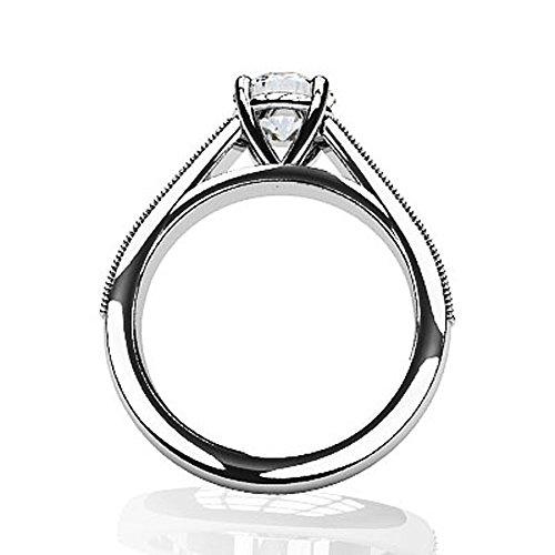 Or blanc 14K milgrain détaillée Diamant Bague de fiançailles