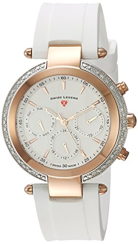 Swiss Legend Women's 'Madison' Quartz Stainless Steel and Silicone Casual Watch, Color:White (Model: 16175SM-SR-02-WHT)