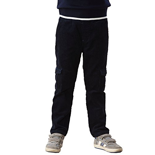 - Leo&Lily Boys Husky Waist Whole Waist Rib Corduroy Cargo Trousers Pants (Navy, 14)