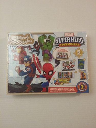 5 Wood Puzzles Set Marvel Super Hero Adventures