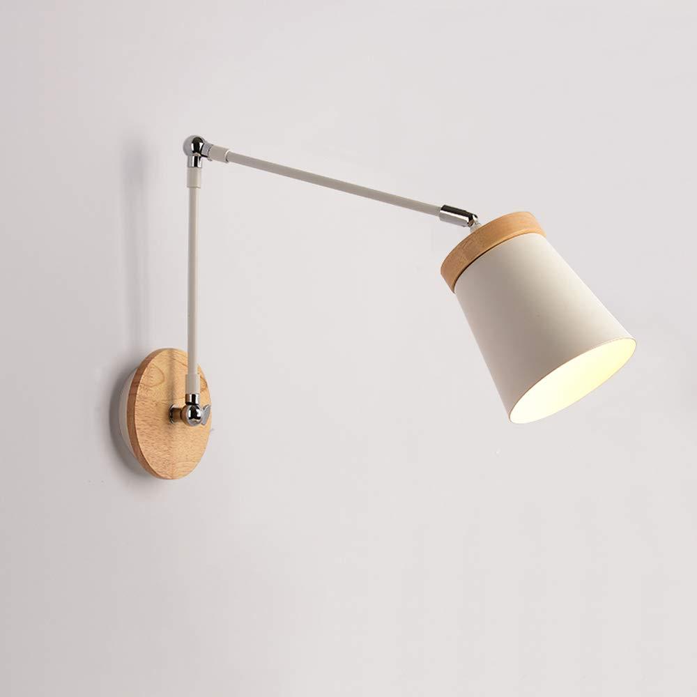 Wandleuchte Nordic minimalistischen Wohnzimmer Schlafzimmer Nachttischlampe, führte Massivholz Studie Gang Metall lange Arm Wandleuchte