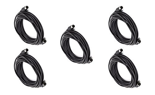 eDragon 5 Pack MIDI Cable with 5 Pin DIN Plugs, 25 Feet, - Black by eDragon