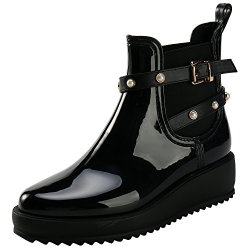ALEXIS LEROY Women Rubber Wedge Heel Elastic Side Panel Short Ankle Rain Boots Black 40 M EU / 9-9.5 B(M) - Rubber Wedge Heel