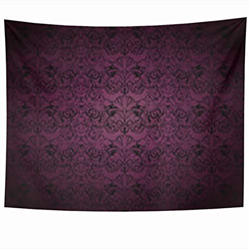 NOWCustom Tapestry Wall Hanging, 80 x 60 Inches Baroque Royal Vintage Gothic Dark Purple Leafs Victorian Damask Pattern Black Tapestries, Decor for Home Bedroom Living Room Dorm (Hanging Wall Damask)