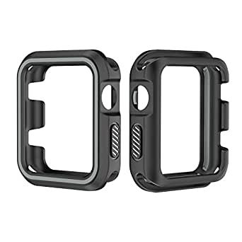 42mm Sports Dual Colors Silicone Case Protective Cover For Apple Watch iWatch 4 3 2 1 Box size 9.1cm x 6.8cm x 1.5cm Black and Grey