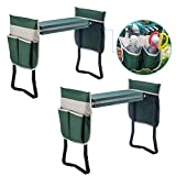 2 Garden Kneeler Seat Garden Bench Garden Stools Foldable Stool W/Tool Bag Pouch