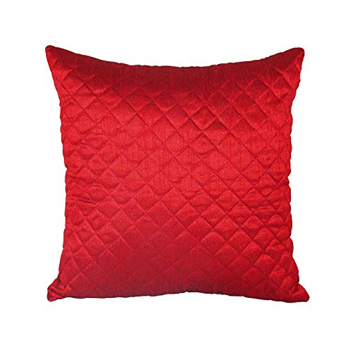 Home Sajja Indian Red Pillow Case Dupion Silk Quilted Pattern Sofa Bed Cushion Cover 10