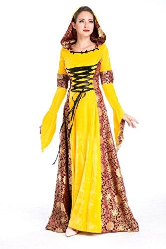 Halloween Velvet Lolita Gothic Renaissance Medieval Mythic Costumes (Yellow) ()