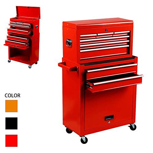 Tool Box Rolling 2 in 1 Portable Tool Chest Cabinet Top&Bottom Key Lockable Storage Toolbox with 4 Swivel Wheels (2pc with brake), 8-Sliding Drawers Removable Toolbox Organizer, Red Drawer Red Mobile Tool Cabinet