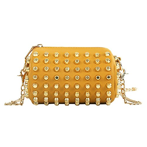 Everpert Cylinder Chain Rivets Bag Women Kids Yellow Wallet Messenger Girl Shoulder Handbag TwTRAq