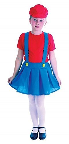 Large Red & Blue Girls Plumber Girl Costume ()